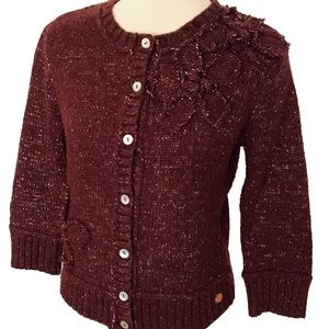 DKNY Jeans Marled Flower Embroidered Cardigan